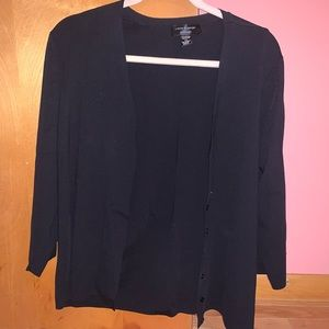 BLACK CABLE AND GAUGE CARDIGAN